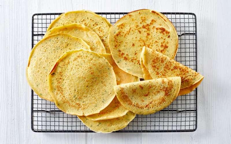 Kikærtepandekager på rist