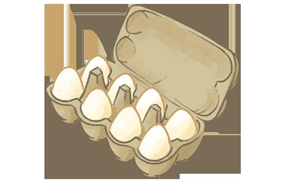 æggebakke med hvide æg