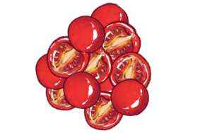 en bunke halve tomater